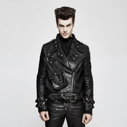 Men's Adjustable Buckle Rivets Faux Leather Biker Jacket - PunkDesign