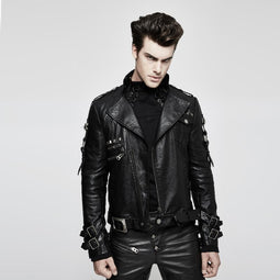 Men's Belted Design Faux Leather Zipper Biker Jacket - PunkDesign