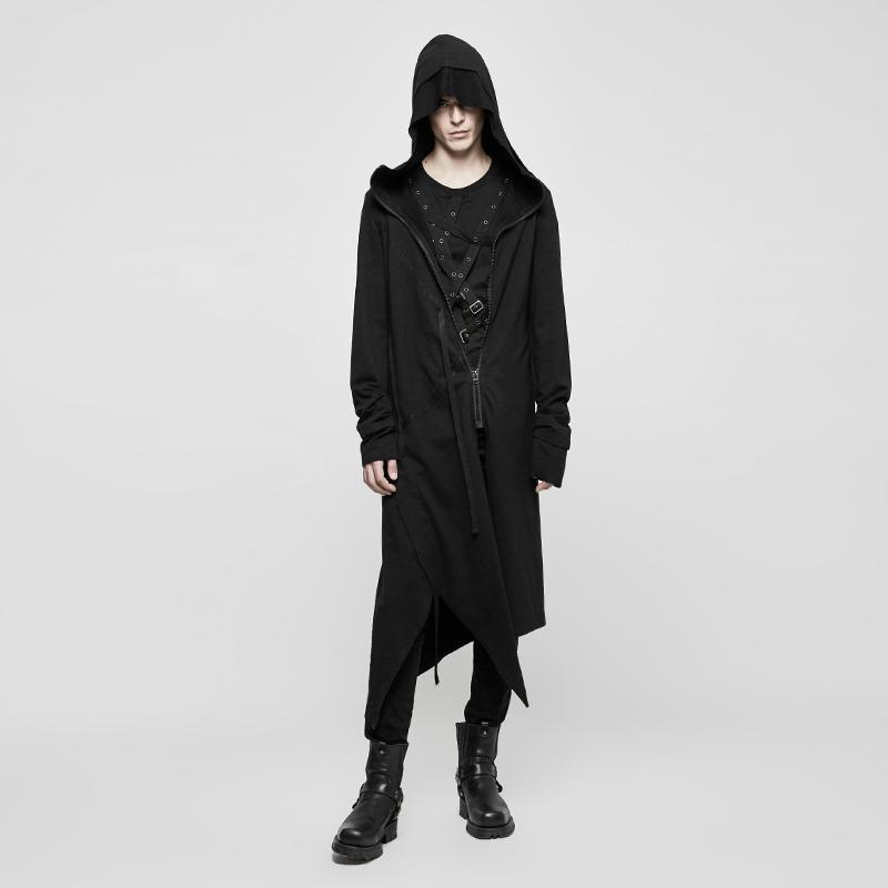 Men's Cropped Casual Long Hooded Cardigan - PunkDesign