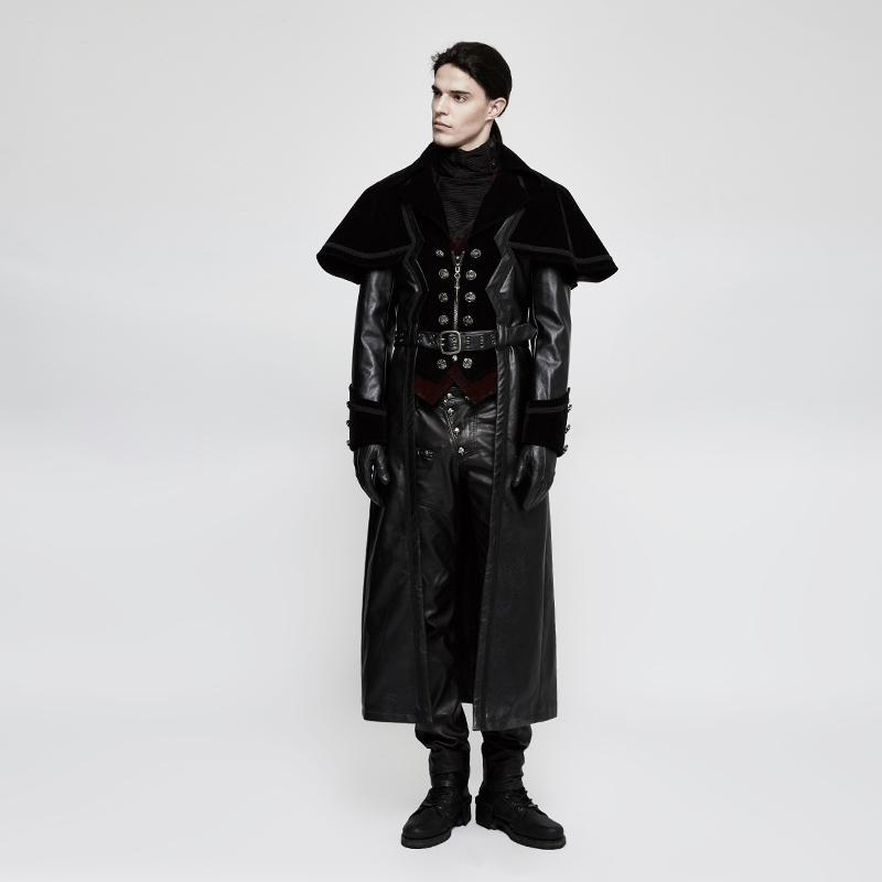 Men's Gothic Cloak Long Faux Leather Coat With Belt - PunkDesign