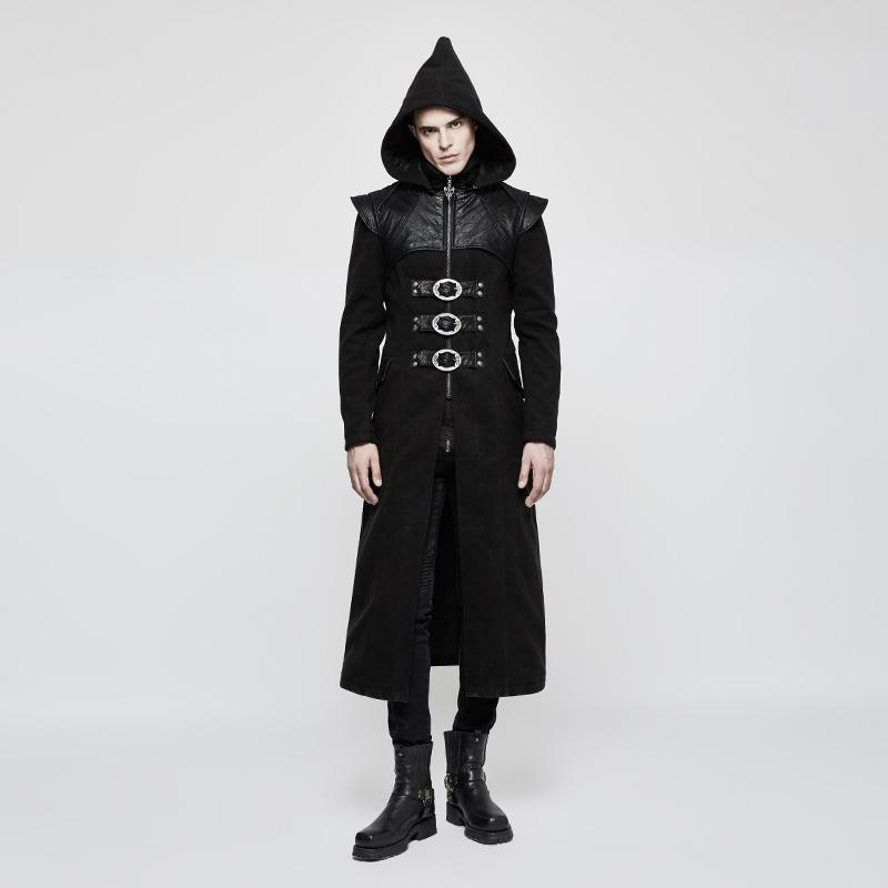 Men's Gothic Colorblock Buckles Slim Fitted Hooded Long Coat - PunkDesign