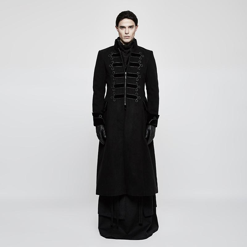 Men's Gothic Court Stand Collar Long Coat - PunkDesign