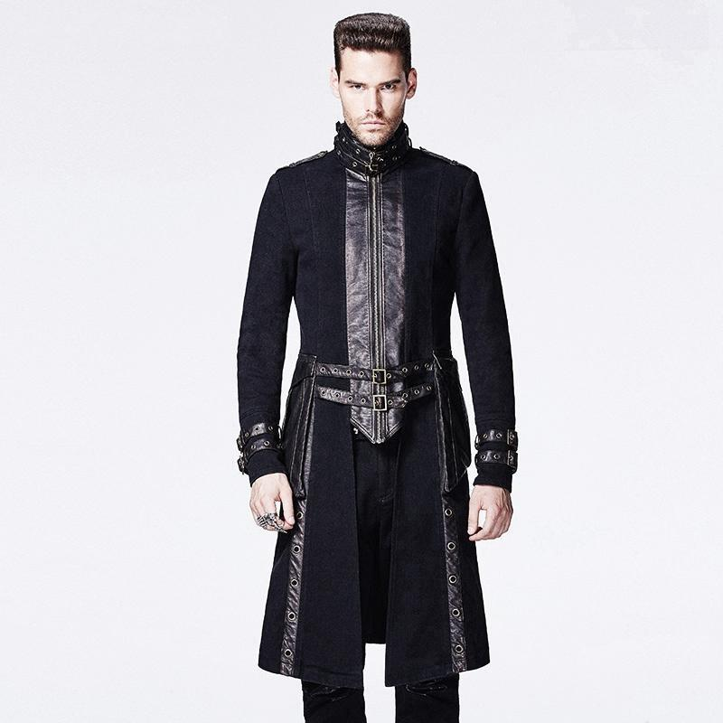 Men's Gothic High Collar Overcoat - PunkDesign