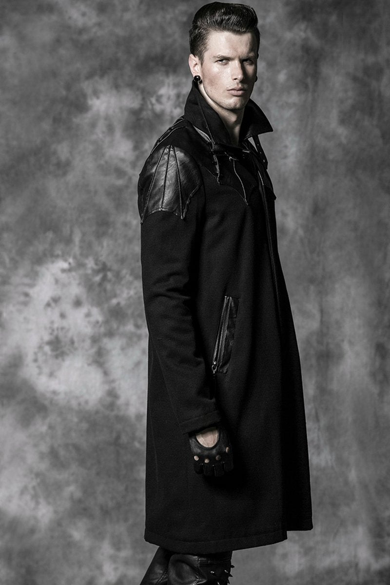 Men's Gothic High Collar Straps Woolen Overcoat - PunkDesign
