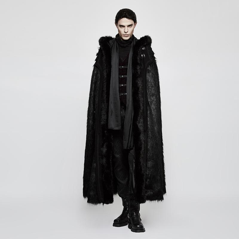 Men's Gothic Hooded Sleeveless Long Fur Cloak - PunkDesign