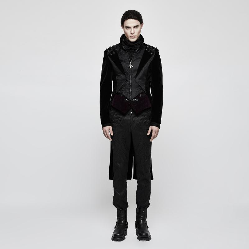 Men's Gothic Jacquard High/Low Dress Coat - PunkDesign