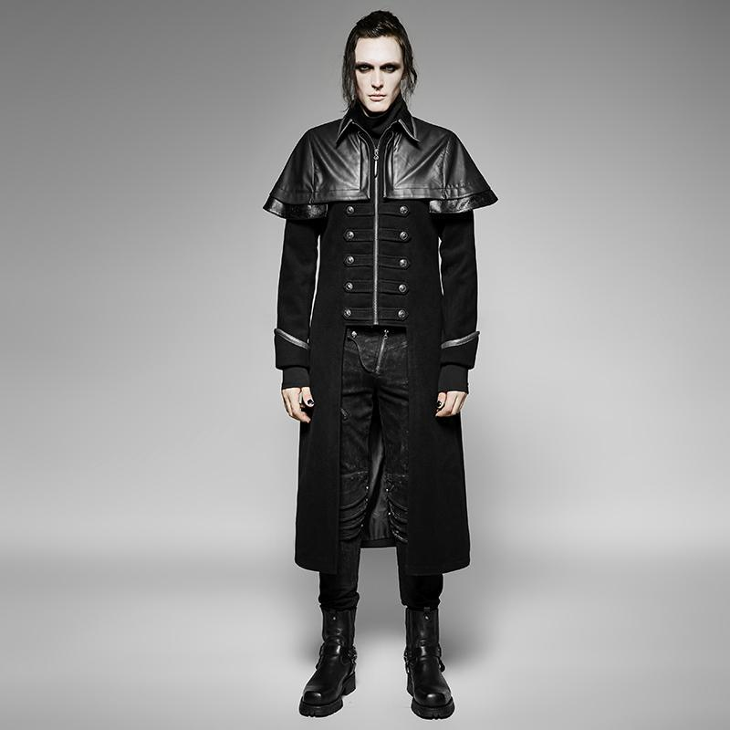 Men's Gothic Military Double Breasted Cloak Overcoat - PunkDesign