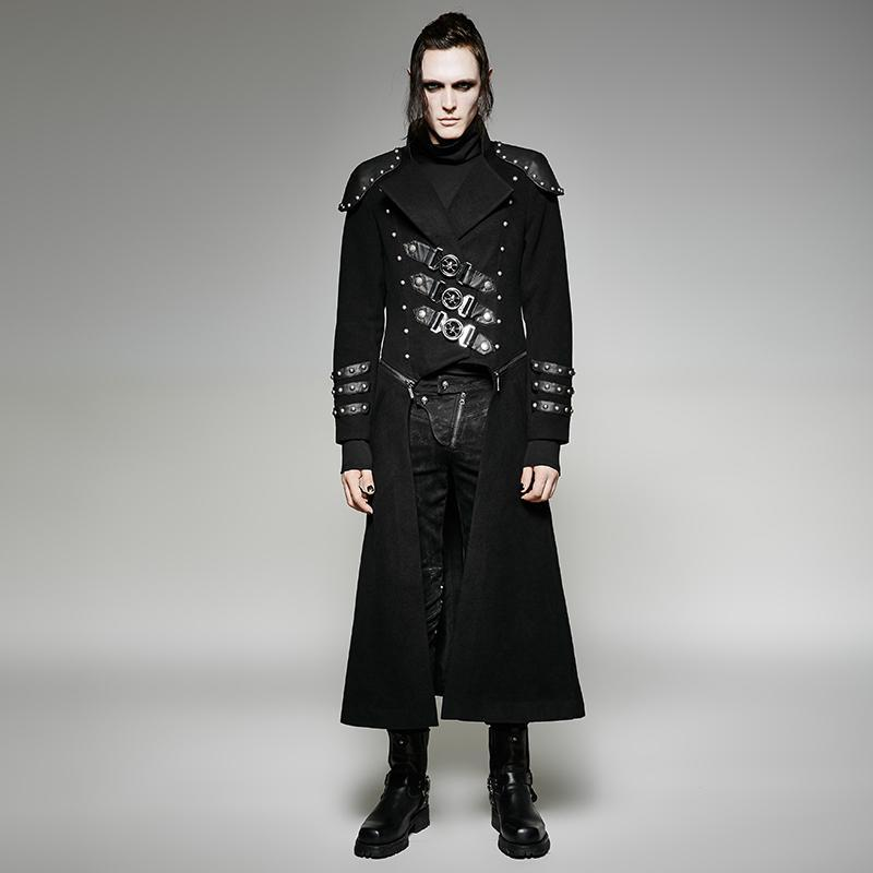 Men's Gothic Military Double Zipper Rivets Overcoat - PunkDesign