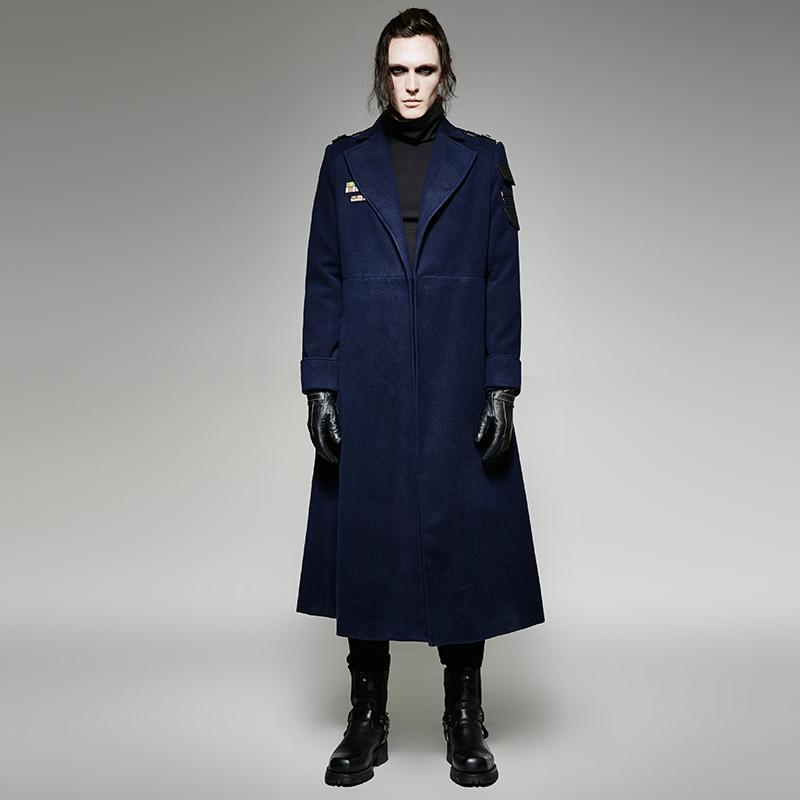 Men's Gothic Military Uniform Style Overcoat - PunkDesign