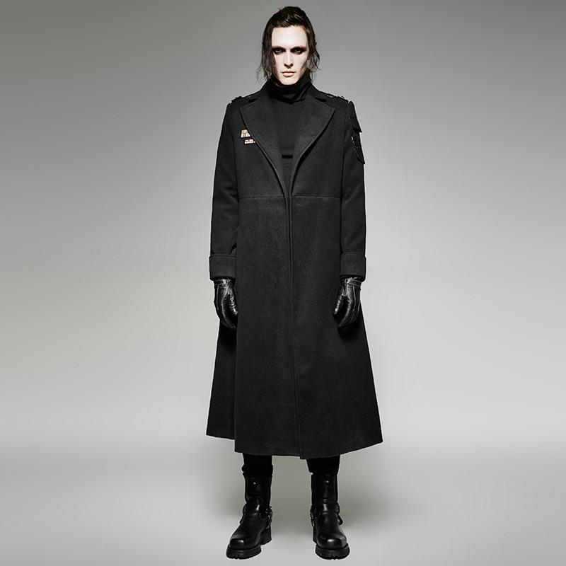 Men's Gothic Military Uniform Style Overcoat Black - PunkDesign