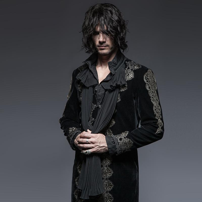 Men's Gothic Victorian Embossed Overcoat - PunkDesign