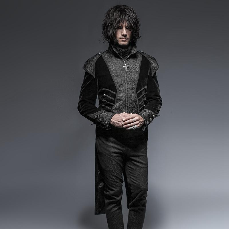 Men's Gothic Victorian High/Low Swallow Tail Overcoat - PunkDesign