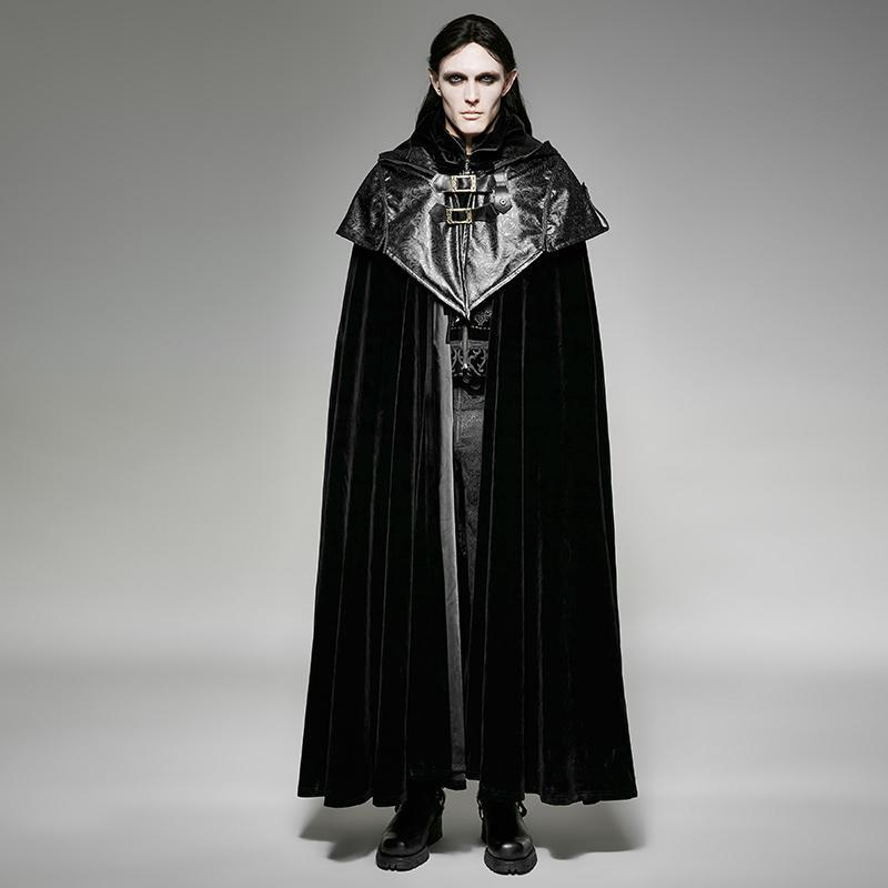 Men's  Gothic Victorian Style Hooded Cape Overcoat - PunkDesign