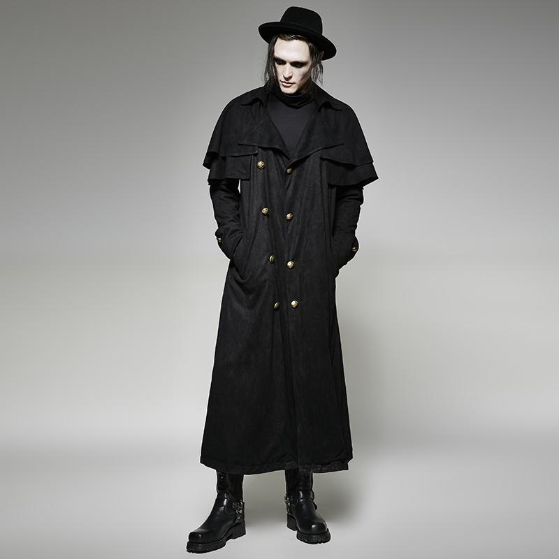 Men's Gothic Winter Black Double Breasted Faux Suede Cape Overcoat - PunkDesign
