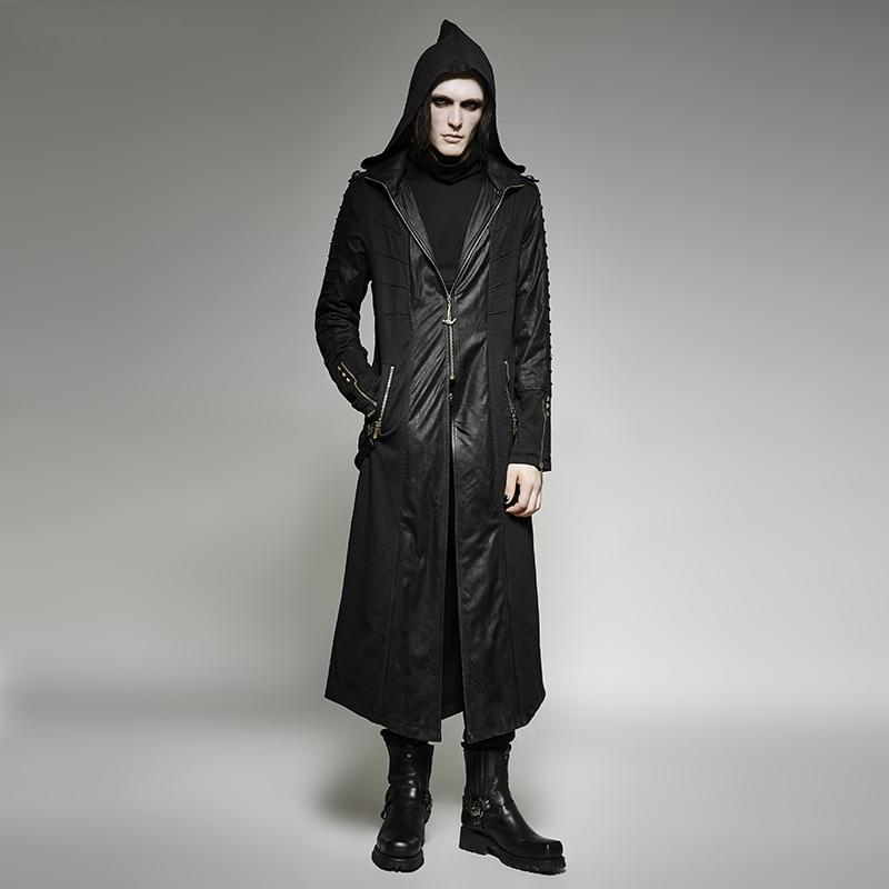 Men's Heavy Punk Hooded Long Trench Coat With Back Cross - PunkDesign