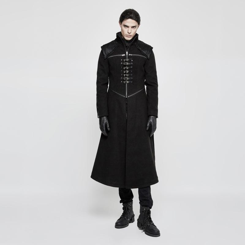 Men's Military High Collar Front Zipper Buckles Long Coat - PunkDesign