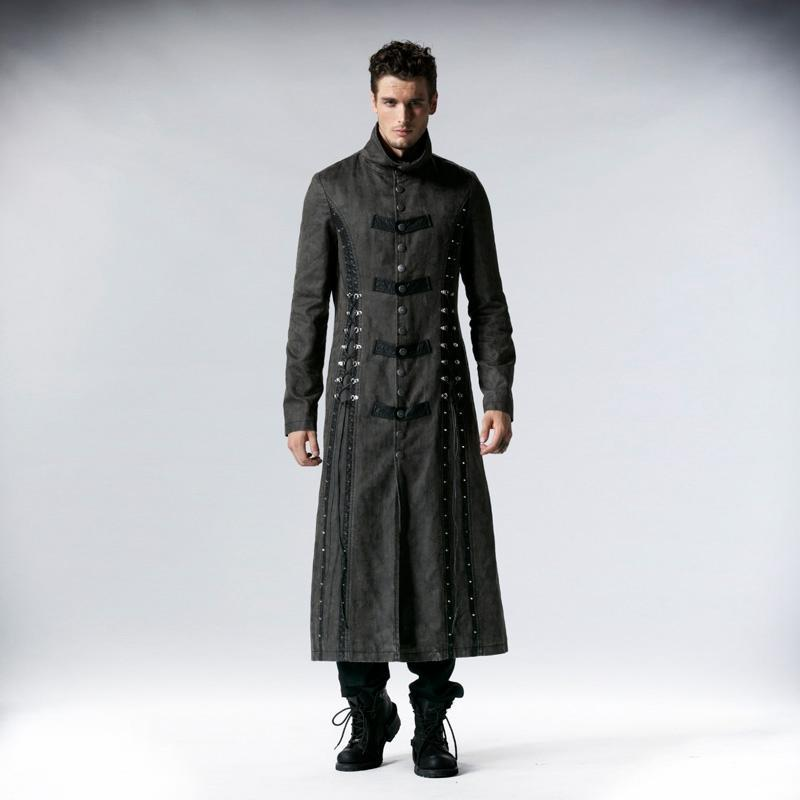 Men's Military Style Vintage Lace Up Overcoat Grey - PunkDesign