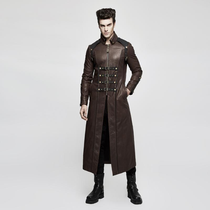Men's Multi-row Buckles Faux Leather Long Coat Coffee - PunkDesign