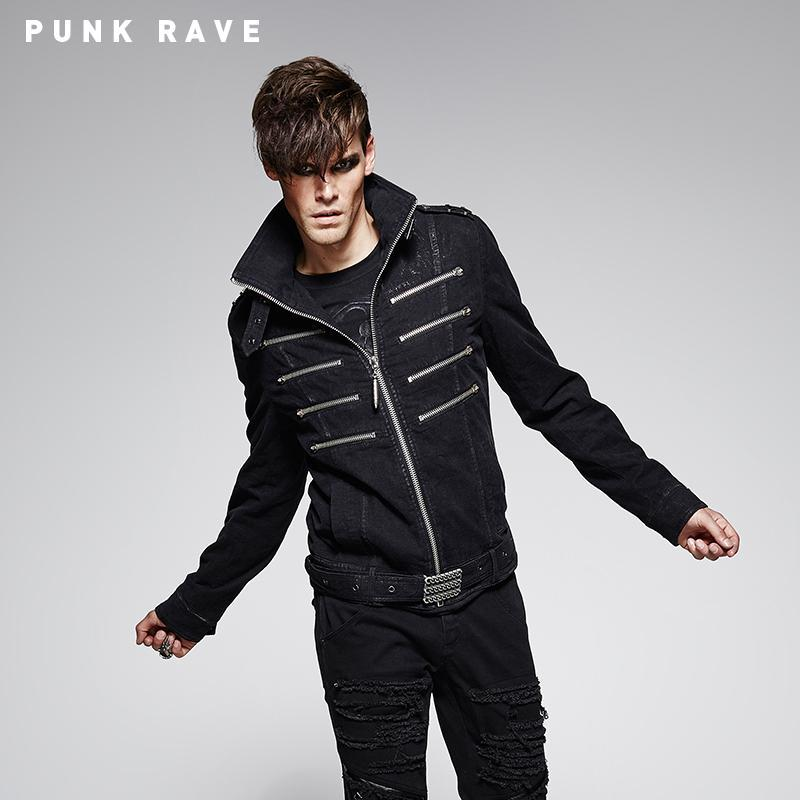 Men's Multi Zipper Faux Leather Jacket With Carving Chain Waist Belt - PunkDesign