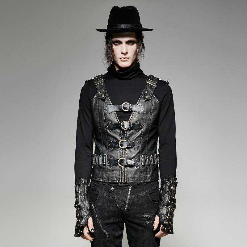 Men's Punk Buckle Up Faux Leather Waistcoat - PunkDesign