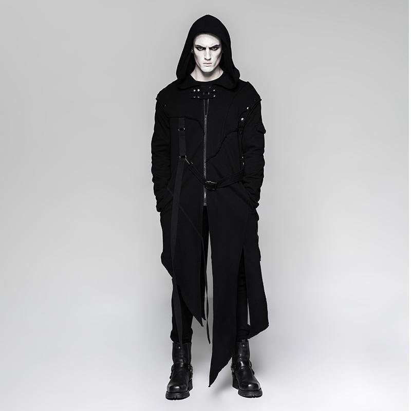 Men's Punk Irregular hooded long coat with Detachable sleeves - PunkDesign
