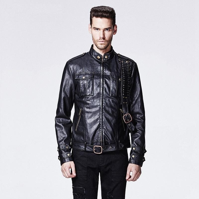 Men's Punk Killer Faux Leather Motorcycle Jacket Black - PunkDesign