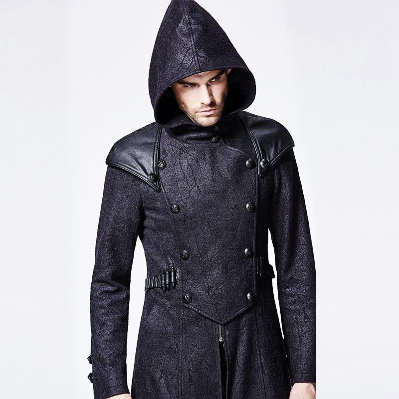 Men's Punk Killer Hooded Overcoat - PunkDesign