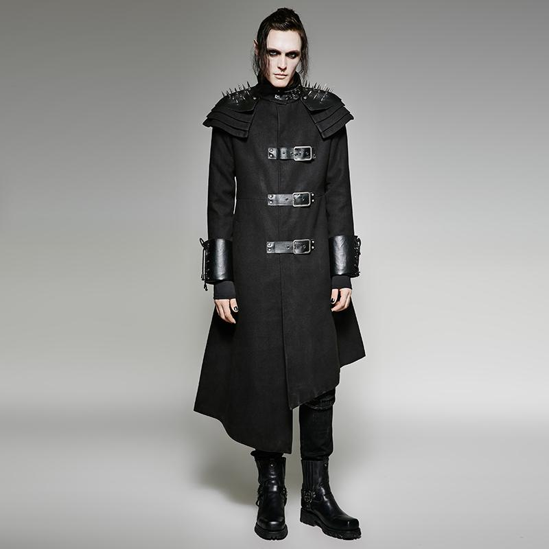 Men's Punk Rivets Stand Up Collar Asymmetrical Military Overcoat - PunkDesign
