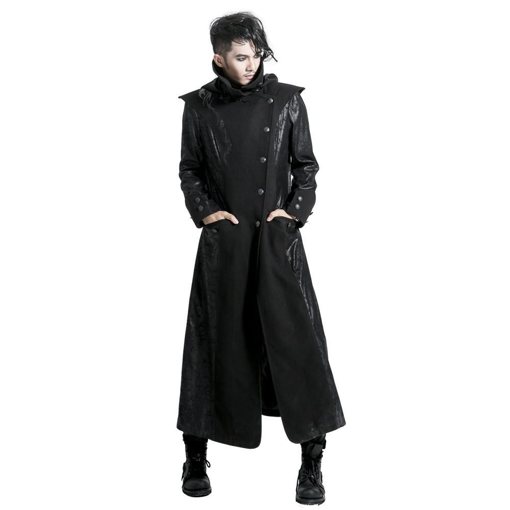 Men's Punk Winter Stand Collar Faux Leather Trench Coat - PunkDesign