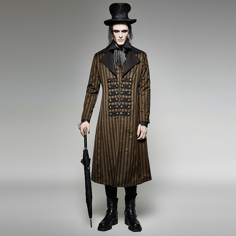Men's Steampunk Classical Stripes Overcoat - PunkDesign