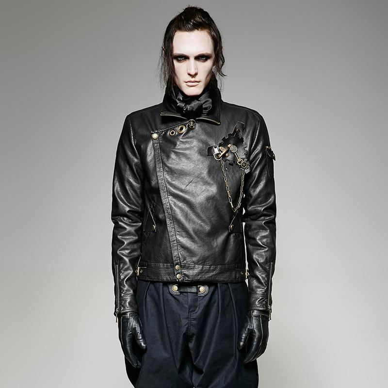 Men's Steampunk Faux Leather Short Jacket With Gear Brooch-Punk Design