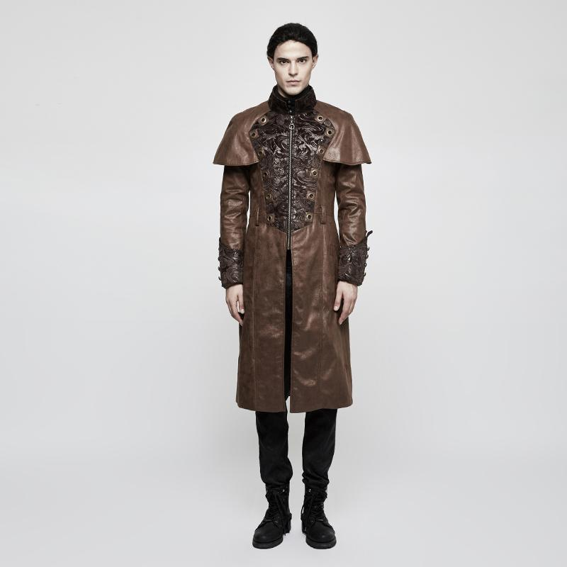 Men's Steampunk Jacquard Faux Leather Long Coat Coffee-Punk Design