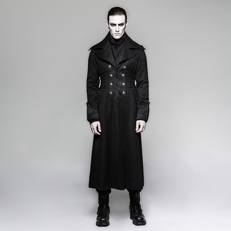 PUNK RAVE Men's Coats & Jackets Men's Steampunk Stripes Long Coat Black