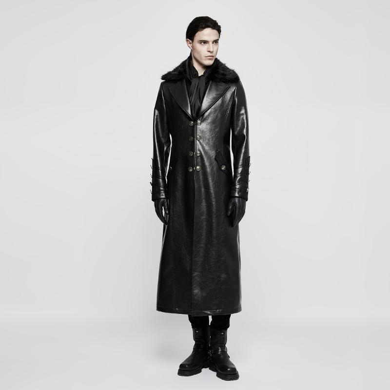 Men's Turn-down Fur Collar Military Uniform Long Coat-Punk Design
