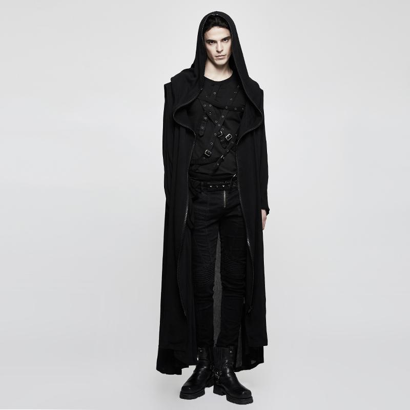 Women's Gothic Cross Hooded Long Jacket-Punk Design
