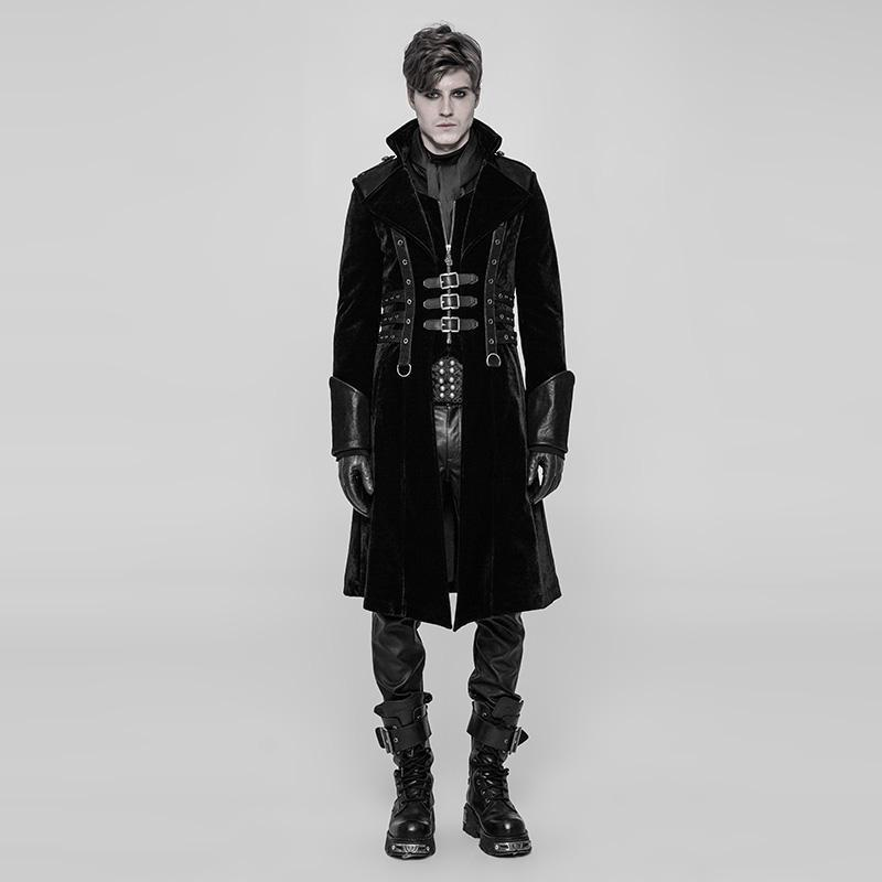 Men's Faux Leather Embellished Faux Leather Punk Coat - PunkDesign