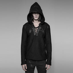 Men's Faux Leather Trimmed Steampunk Hoodie - PunkDesign