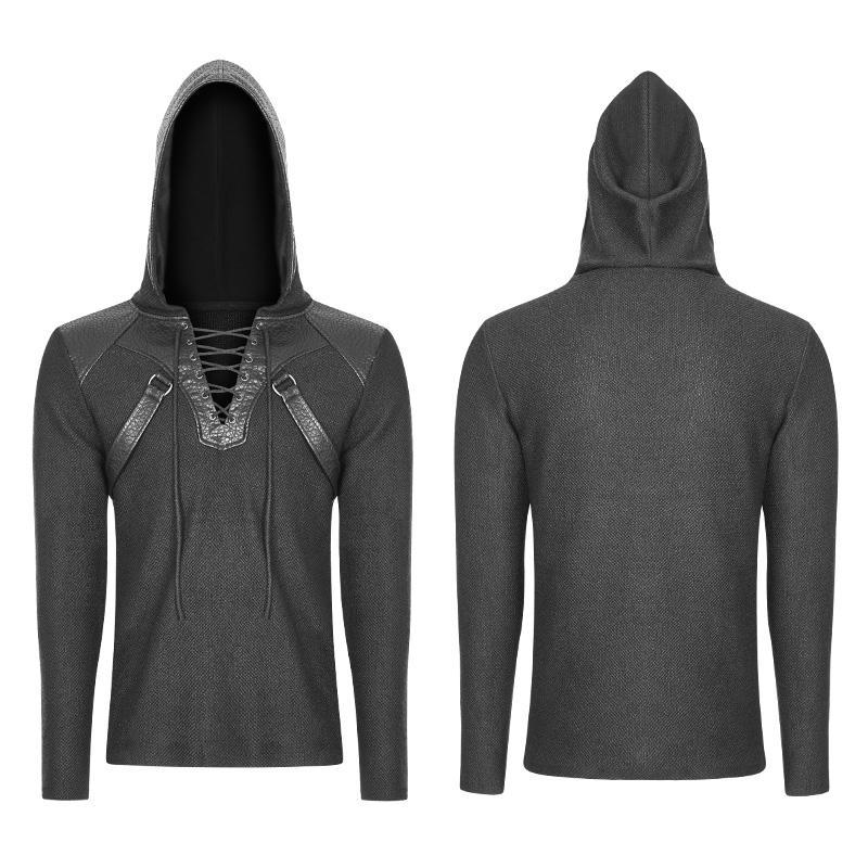 Men's Faux Leather Trimmed Steampunk Hoodie
