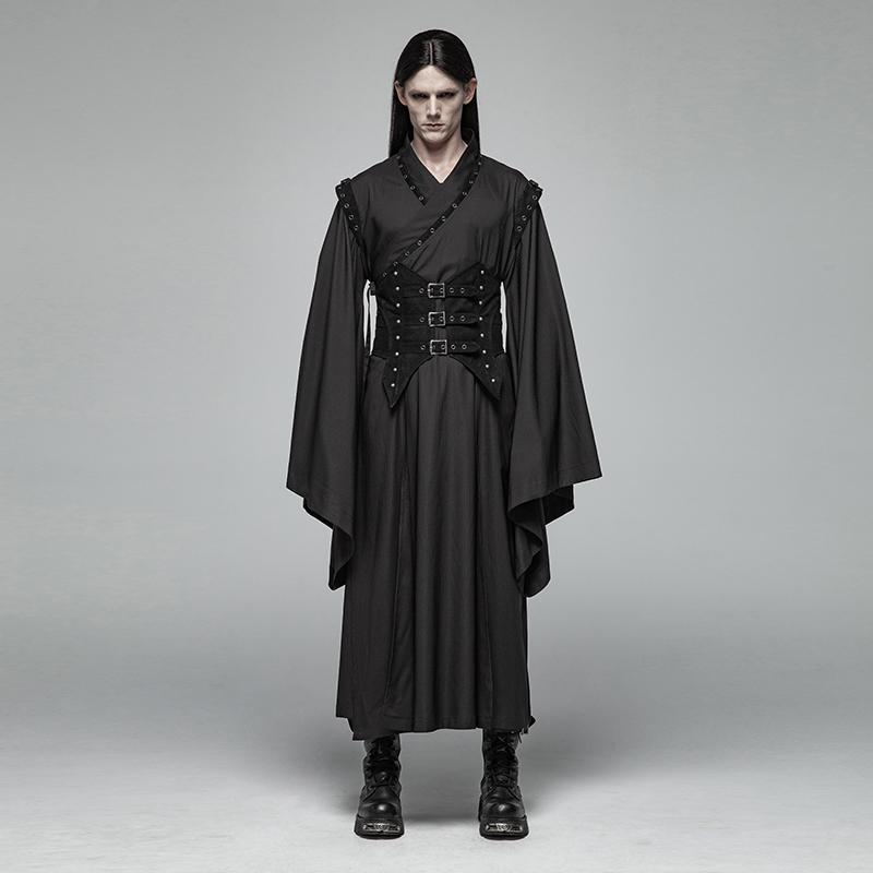 Men's Flare Sleeved Kimono With Corset Belt - PunkDesign