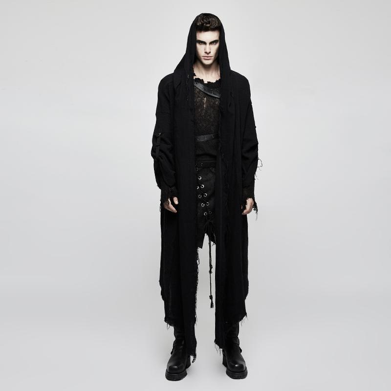Men's Frayed Loose Cloak - PunkDesign