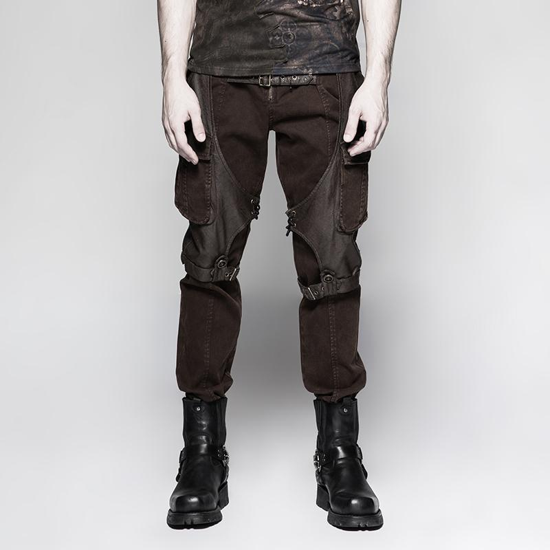 Men's Front Zip Casual Pants With Two Pockets - PunkDesign