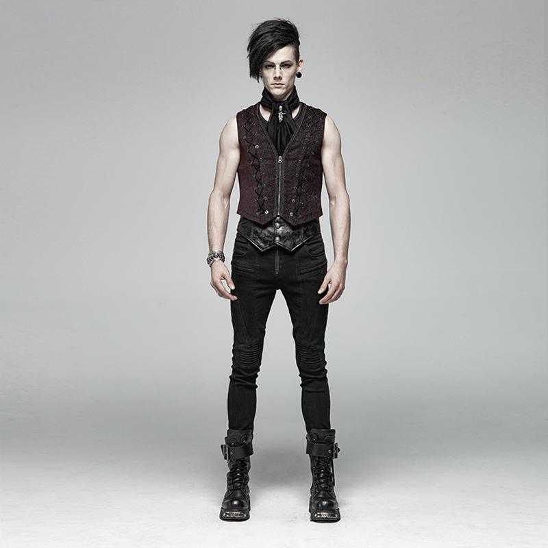 Men's Front Zipper Lace-Up Jacquard Steampunk Vest - PunkDesign