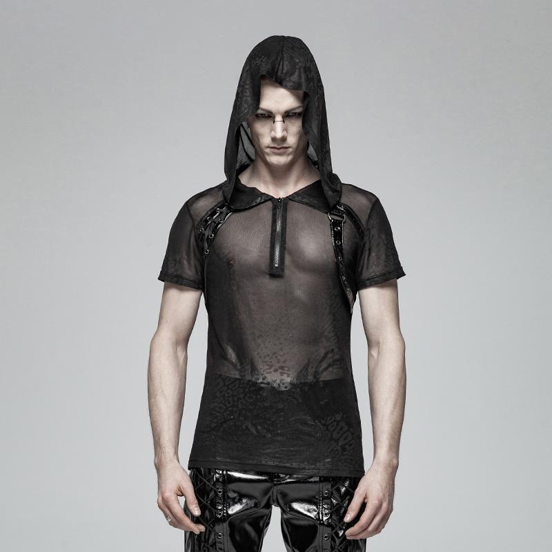 a163b6ced7 Men s Front Zipper Mesh Sheer Tops With Hood - PunkDesign