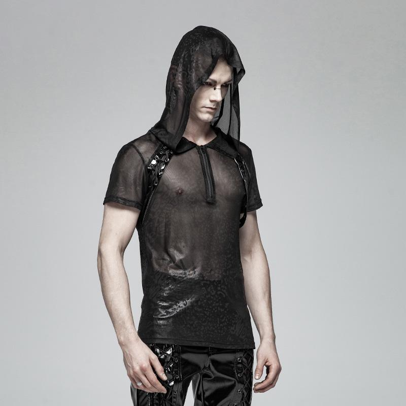 a64369715b ... Men s Front Zipper Mesh Sheer Tops With Hood - PunkDesign ...