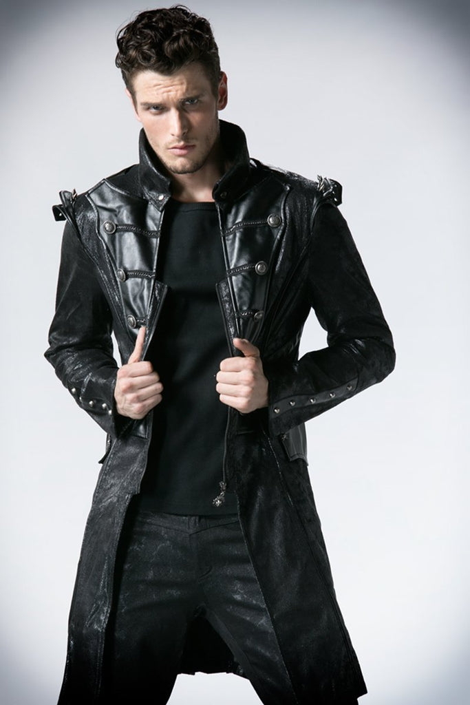 Men's Front Zipper Rivets Faux Leather Military Long Jacket - PunkDesign