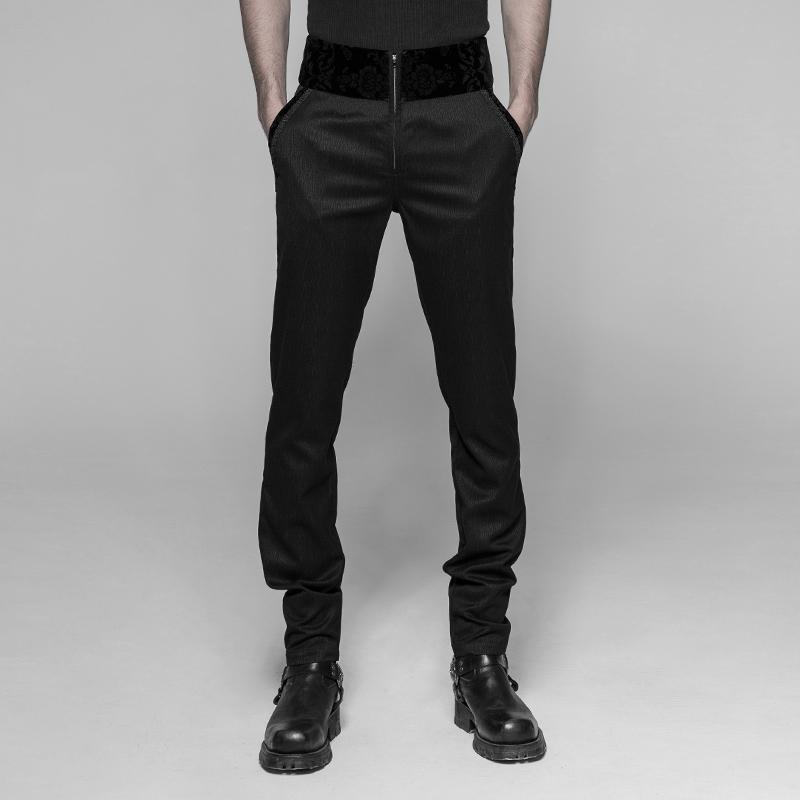 Men's Goth Broad Cummerbund Style Pants - PunkDesign