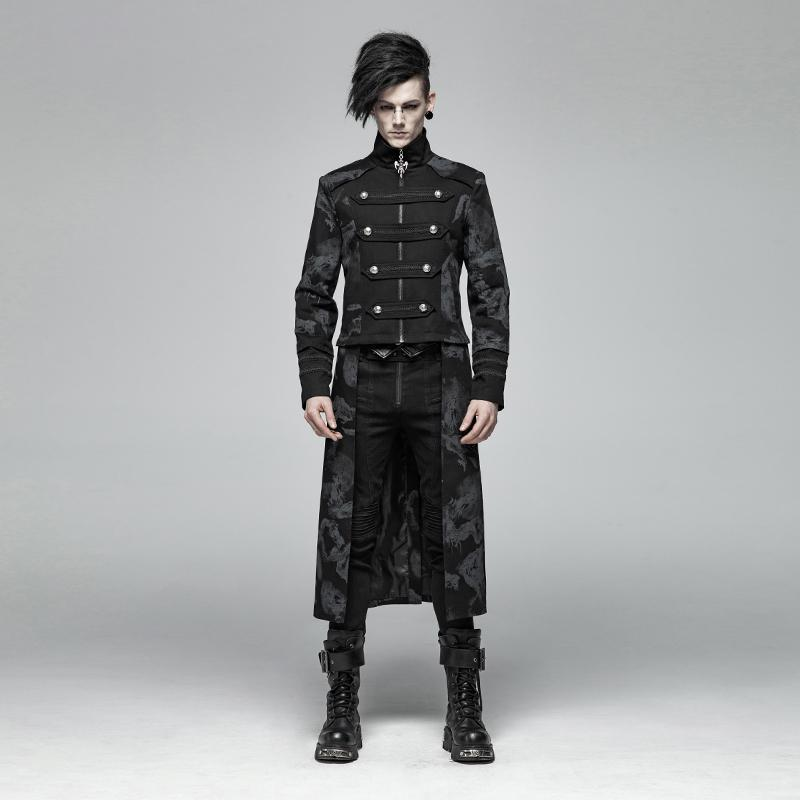 Men's Goth Double-Breasted Long Jacket With Detachable Hem - PunkDesign