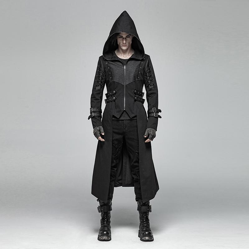 Men's Goth Dovetail Long Jacket With Lace-Up Sleeves - PunkDesign