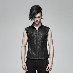 Men's Goth Front Zipper Faux Leather Vests - PunkDesign