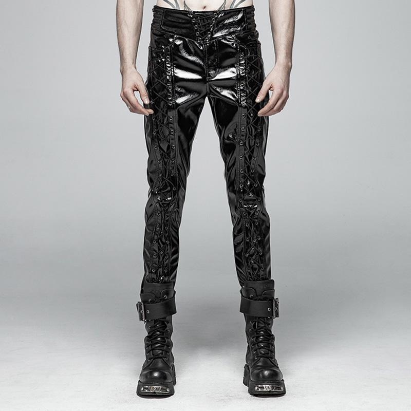 38532878c9b8b4 Men's Goth High-waisted Lace-Up Faux Leather Locomotive Pants - PunkDesign